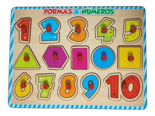 Quebra-cabeça Com Pinos Brinquedo Educativo Números E Formas