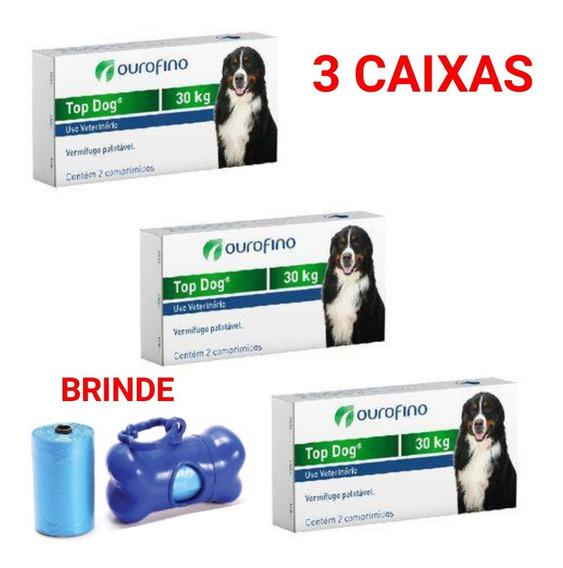 Top Dog Vermífugo 3 Caixas P/cães 30 Kg Venc. 05/20 + Brinde