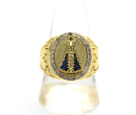 Anel Religioso Nossa Senhora Aparecida Em Ouro 18k J22679