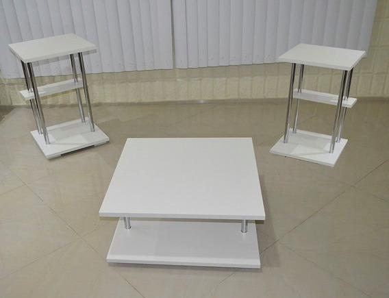 Mesa De Centro Branca De Sala E 2 Mesas De Canto Mdf 25mm