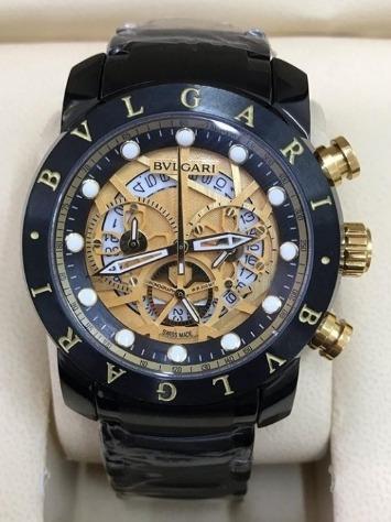 Relógio Masculino Bullgari Esqueleto Preto Fundo Dourado
