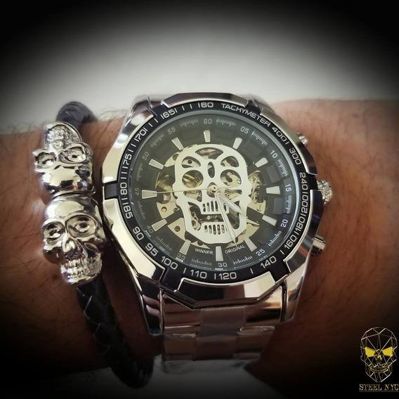 Reloj Mecanico Skull Calavera Plata Skeleton + Pulsera