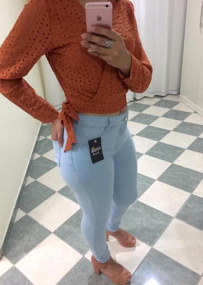 Calça Jeans Feminina Lycra Skinny Cintura Alta Modeladora