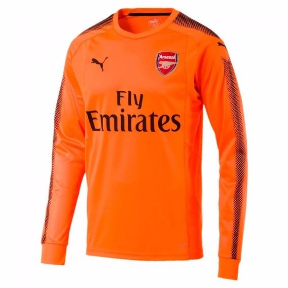 Camisa Arsenal Laranja Goleiro Manga Longa 17-18 Importada