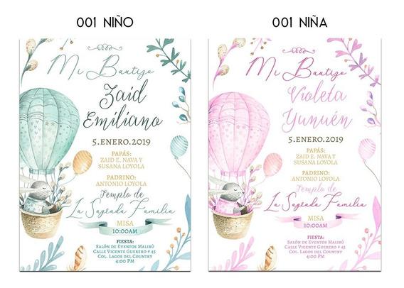 25 Invitaciones - Niños Y Niñas - Bautizo, Baby Shower,etc.