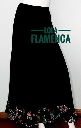 Falda De Baile Flamenco O Español Con Volado Floreado T M