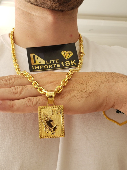 Cordão Banhado À Ouro 18k 8mm Cadeado Com Pingente Fé Luxo