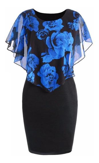 Floral Estampado Poncho Vestido O-cuello De Dama Vestido De