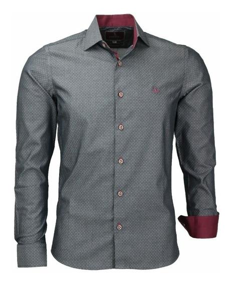 Camisa Social Cor Jeans Slim Bolson