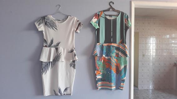 02 Vestidos Seminovos Para O Verão -veste Até O 44 (o Par)