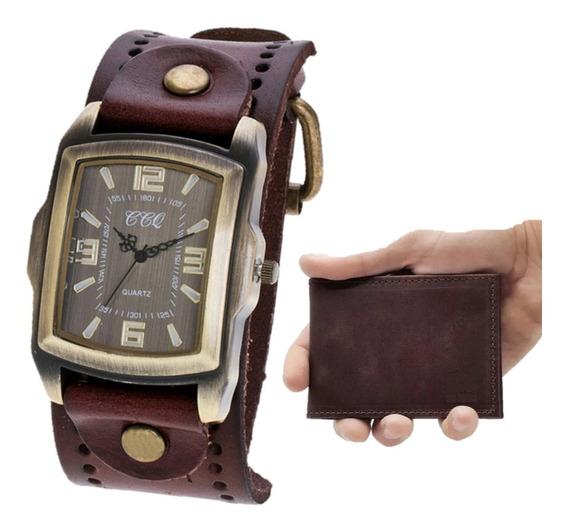 Kit Relógio Masculino De Couro Vintage Retrô + Carteira Slim