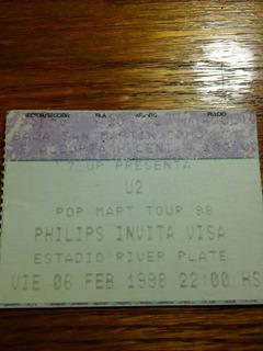 Entrada Recital U2 En Argentina - Pop Mart Tour Febrero 1998