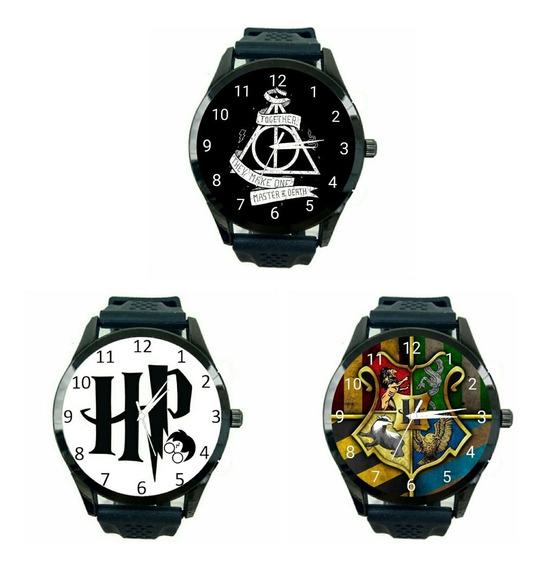 Kit 3 Relógios Harry Potter Hogwarts Unissex Filme Hp T727