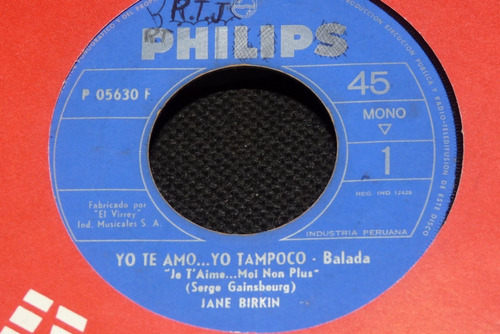 Jch Jane Birkin Yo Te Amo Yo Tampoco Rock 70s 45 Rpm Mercado Libre