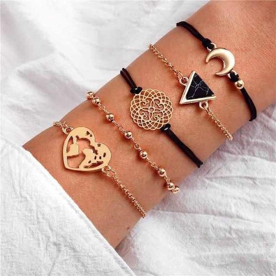 Midnight Vintage 5 Piece Layered Bracelets