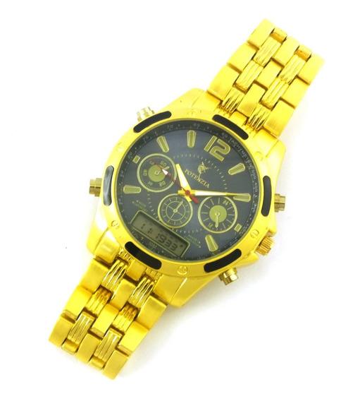 Relógio Masculino Potenzia De Pulso Com Pulseira Metal B5644