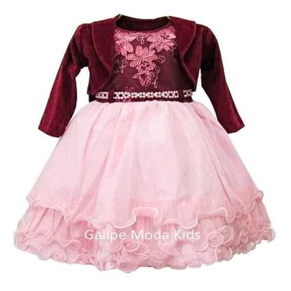 Vestido Inverno Infantil De Festas Rosa E Vinho Tamanho 1 Ao