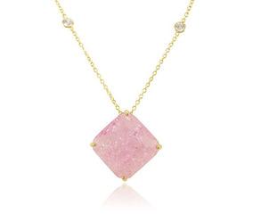Colar Quadrado 15 Microns De Ouro 18k Pedra Fusion Rosa