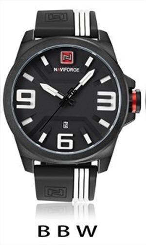 Relógio Militar Esportivo Naviforce Pulseira Borracha 12x