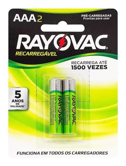 2 Pilhas Rayovac Recarregável Palito Aaa 3a