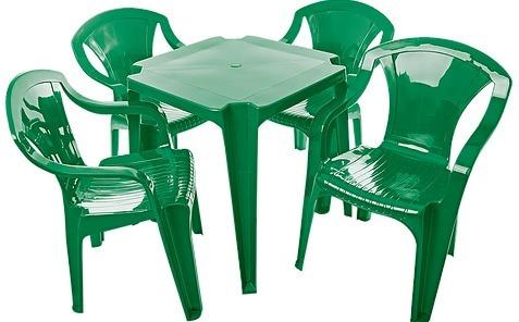 6 Jogo De Mesa Com 24 Cadeiras Verde Plástico Empilháveis