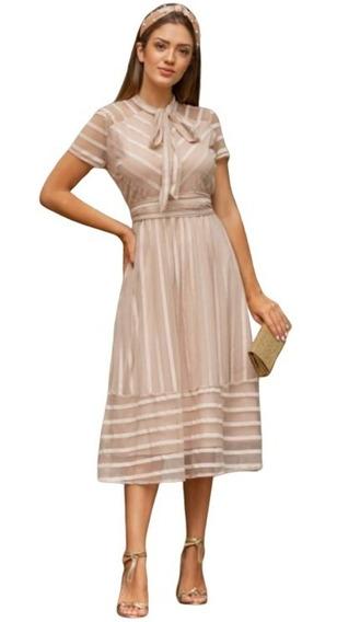 Vestido Godê Midi Tubinho Moda Evangélica Casual Ou Social