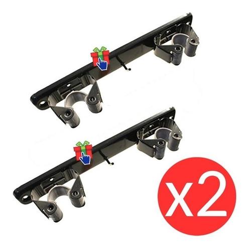 Set X2 Soporte Organizador Metálico Doble Pared Sujeta Escob