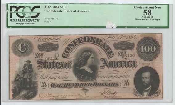 Cedula Estados Confederado Da America - 100 Dollars - 1864