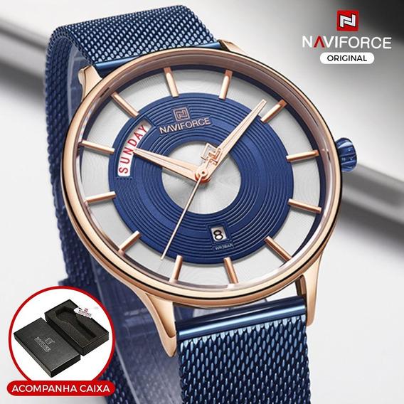 Relógio Masculino Casual Luxo Naviforce Original Azul