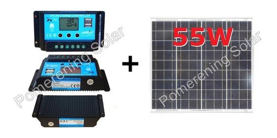 Kit Painel Placa Solar 55w + Controlador 30a Usb Ampere/temp
