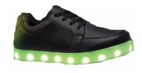 Tenis Negros Luminosos 7 Colores De Led Niños Niñas Unisex