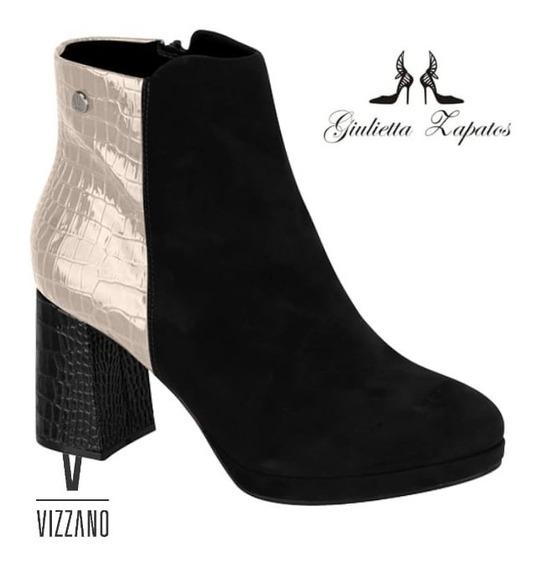 Botineta Corta Vizzano Tacon Nva Colección Negra/combinada