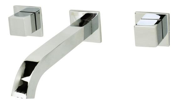 Torneira Banheiro Quadrado De Parede Duplocomando Misturador Em Metal