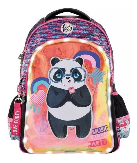 Mochila Panda C/ Lentejuelas Rev. Y Luz Led 18