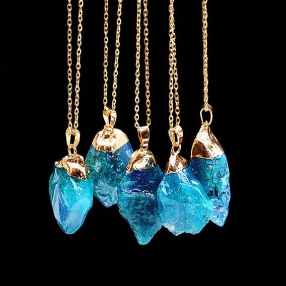 Colar Crystal Pedra Rustica