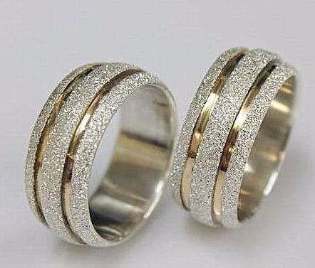 Alianças Em Prata 950 Com Filetes De Ouro