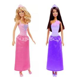 2 Bonecas Barbie Princesas Básicas Loira E Morena - Mattel
