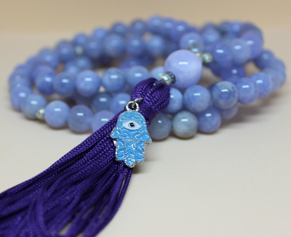 Japamala 108 Contas 8mm Jade Azul - Pedra Natural