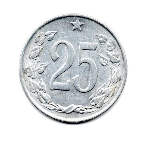 Checoslovaquia Moneda 25 Haleru Año 1963 Km#54