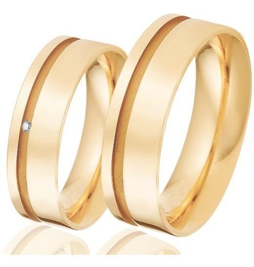 Par 14gr De Ouro 18k 7mm Alianças Retas Alianças C/ Diamante