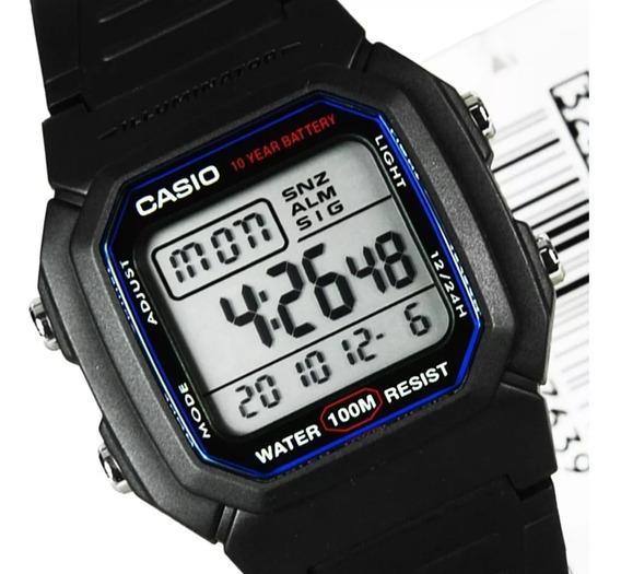 Relogio Casio W-800h-1 Retrô-vintage Alarme Crono Luz Wr