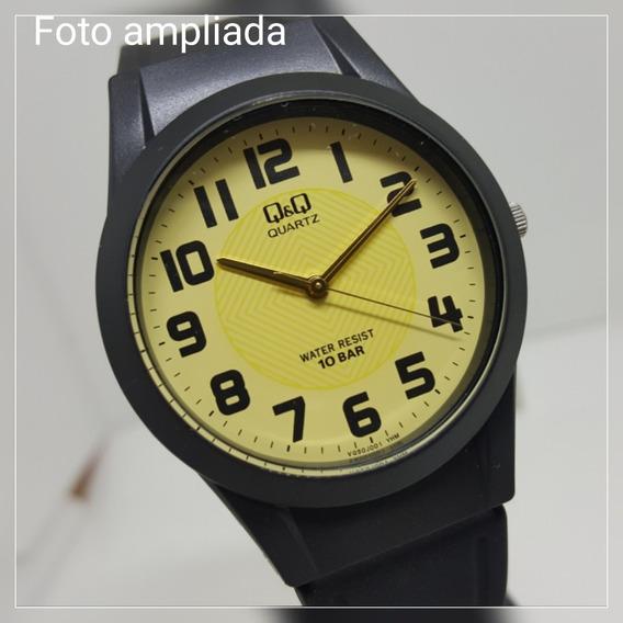 Relógio Feminino Masculino Borracha Preto Números Grandes