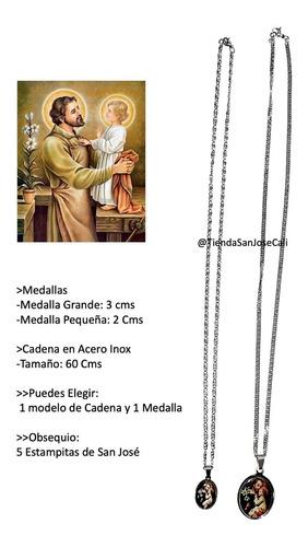 Medalla De San José, En Acero Con Cadena + 5 Estampas