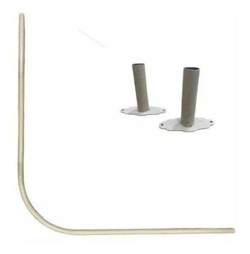Barral Curvo Para Ducha 75 X 75 Cm.aluminio Natural
