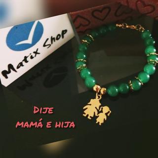 Pulsera Jade + Dije Acero Dorado- Mamá E Hija