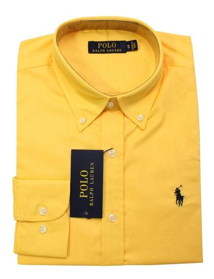 Camisa Social Ralph Lauren Preta Pony Colorido