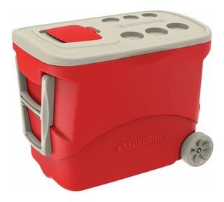 Caixa Térmica Grande Com Rodas Vermelha 50 Litros Soprano
