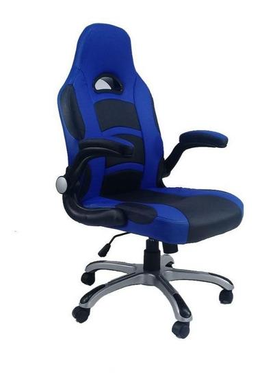 Cadeira Byartdesign Game Office Tecido Preto E Azul