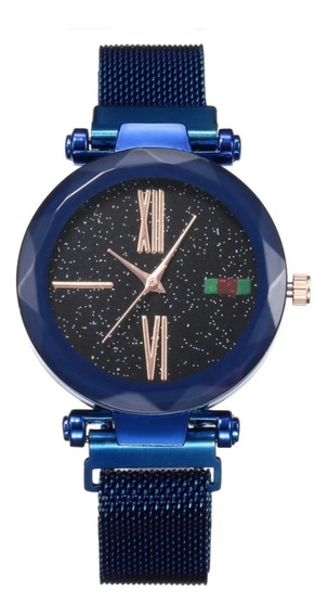Relógio Céu Estrelado Azul Importado Imã Caixa Para Presente