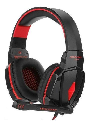 Audífonos gamer Kotion Each G4000 negro y rojo